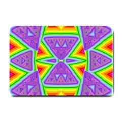 Trippy Rainbow Triangles Small Door Mat by SaraThePixelPixie