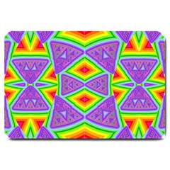Trippy Rainbow Triangles Large Door Mat by SaraThePixelPixie