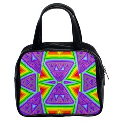 Trippy Rainbow Triangles Classic Handbag (two Sides) by SaraThePixelPixie