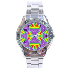 Trippy Rainbow Triangles Stainless Steel Watch by SaraThePixelPixie