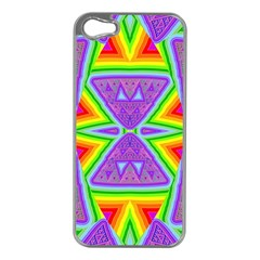 Trippy Rainbow Triangles Apple Iphone 5 Case (silver) by SaraThePixelPixie