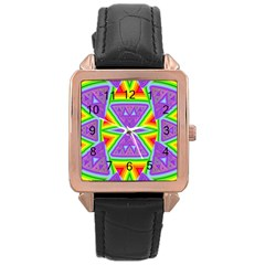 Trippy Rainbow Triangles Rose Gold Leather Watch  by SaraThePixelPixie
