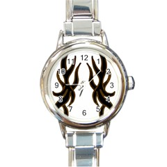 Dancing Fire Round Italian Charm Watch by coolcow