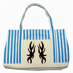 Dancing Fire Blue Striped Tote Bag by coolcow