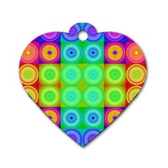 Rainbow Circles Dog Tag Heart (two Sided) by SaraThePixelPixie