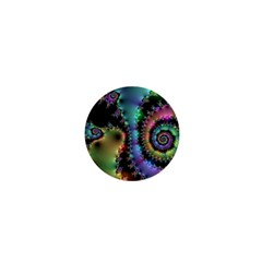 Satin Rainbow, Spiral Curves Through The Cosmos 1  Mini Button by DianeClancy