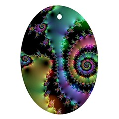 Satin Rainbow, Spiral Curves Through The Cosmos Oval Ornament