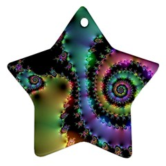 Satin Rainbow, Spiral Curves Through The Cosmos Star Ornament by DianeClancy