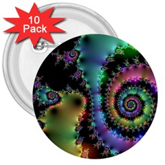 Satin Rainbow, Spiral Curves Through The Cosmos 3  Button (10 Pack) by DianeClancy
