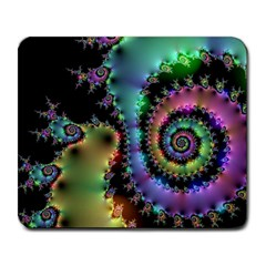 Satin Rainbow, Spiral Curves Through The Cosmos Large Mouse Pad (rectangle) by DianeClancy