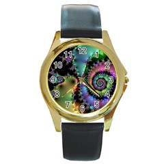 Satin Rainbow, Spiral Curves Through The Cosmos Round Leather Watch (gold Rim)  by DianeClancy