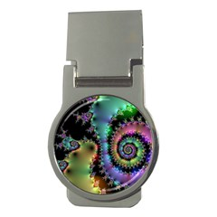 Satin Rainbow, Spiral Curves Through The Cosmos Money Clip (round) by DianeClancy