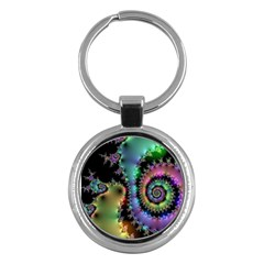 Satin Rainbow, Spiral Curves Through The Cosmos Key Chain (round) by DianeClancy