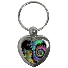 Satin Rainbow, Spiral Curves Through The Cosmos Key Chain (heart) by DianeClancy
