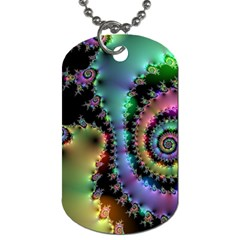 Satin Rainbow, Spiral Curves Through The Cosmos Dog Tag (two Sided)  by DianeClancy