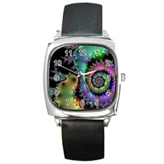 Satin Rainbow, Spiral Curves Through The Cosmos Square Leather Watch by DianeClancy