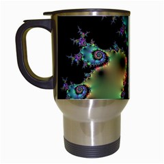 Satin Rainbow, Spiral Curves Through The Cosmos Travel Mug (white) by DianeClancy