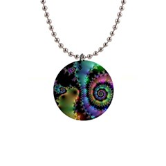 Satin Rainbow, Spiral Curves Through The Cosmos Button Necklace by DianeClancy