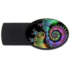 Satin Rainbow, Spiral Curves Through The Cosmos 4gb Usb Flash Drive (oval) by DianeClancy