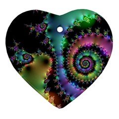 Satin Rainbow, Spiral Curves Through The Cosmos Heart Ornament (two Sides) by DianeClancy
