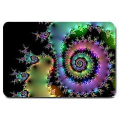 Satin Rainbow, Spiral Curves Through The Cosmos Large Door Mat by DianeClancy