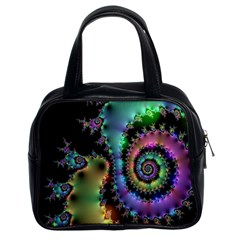 Satin Rainbow, Spiral Curves Through The Cosmos Classic Handbag (two Sides) by DianeClancy