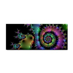 Satin Rainbow, Spiral Curves Through The Cosmos Hand Towel by DianeClancy