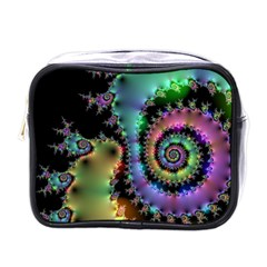 Satin Rainbow, Spiral Curves Through The Cosmos Mini Travel Toiletry Bag (one Side) by DianeClancy