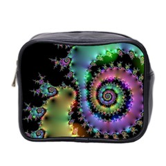 Satin Rainbow, Spiral Curves Through The Cosmos Mini Travel Toiletry Bag (two Sides) by DianeClancy