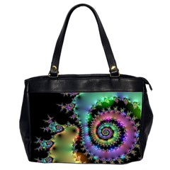 Satin Rainbow, Spiral Curves Through The Cosmos Oversize Office Handbag (two Sides) by DianeClancy