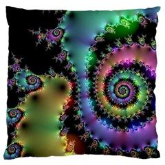 Satin Rainbow, Spiral Curves Through The Cosmos Large Cushion Case (single Sided)  by DianeClancy