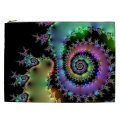Satin Rainbow, Spiral Curves Through The Cosmos Cosmetic Bag (xxl) by DianeClancy
