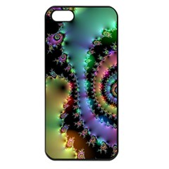 Satin Rainbow, Spiral Curves Through The Cosmos Apple Iphone 5 Seamless Case (black) by DianeClancy