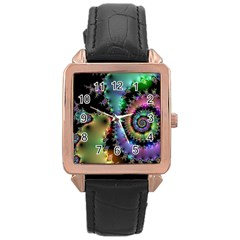 Satin Rainbow, Spiral Curves Through The Cosmos Rose Gold Leather Watch  by DianeClancy
