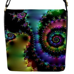 Satin Rainbow, Spiral Curves Through The Cosmos Flap Closure Messenger Bag (small) by DianeClancy