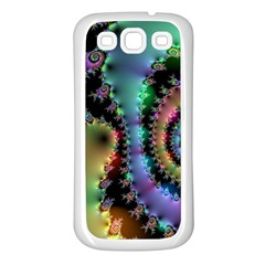 Satin Rainbow, Spiral Curves Through The Cosmos Samsung Galaxy S3 Back Case (white) by DianeClancy