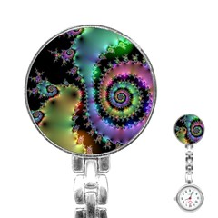Satin Rainbow, Spiral Curves Through The Cosmos Stainless Steel Nurses Watch by DianeClancy