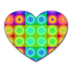 Rainbow Circles Mouse Pad (heart) by SaraThePixelPixie