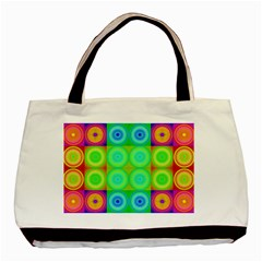 Rainbow Circles Twin Sided Black Tote Bag by SaraThePixelPixie