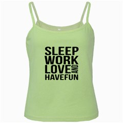 Sleep Work Love And Have Fun Typographic Design 01 Green Spaghetti Tank by dflcprints