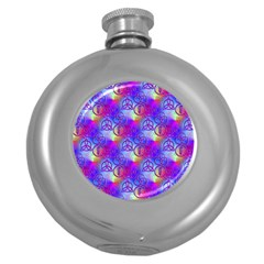 Rainbow Led Zeppelin Symbols Hip Flask (round) by SaraThePixelPixie