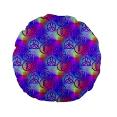 Rainbow Led Zeppelin Symbols 15  Premium Round Cushion  by SaraThePixelPixie