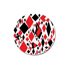 Distorted Diamonds In Black & Red Magnet 3  (round) by StuffOrSomething