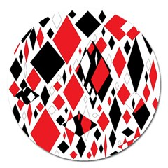 Distorted Diamonds In Black & Red Magnet 5  (round) by StuffOrSomething
