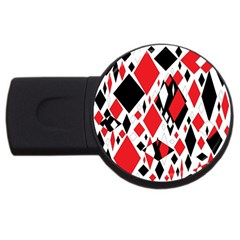 Distorted Diamonds In Black & Red 4gb Usb Flash Drive (round) by StuffOrSomething