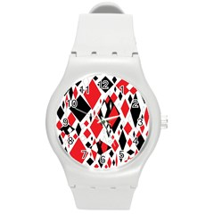 Distorted Diamonds In Black & Red Plastic Sport Watch (medium) by StuffOrSomething