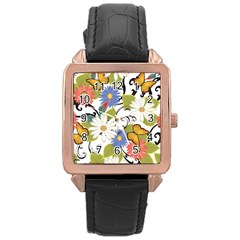Floral Fantasy Rose Gold Leather Watch  by R1111B