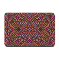 Trippy Tartan Small Door Mat by SaraThePixelPixie