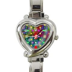 Abstract Modern Heart Italian Charm Watch  by StuffOrSomething