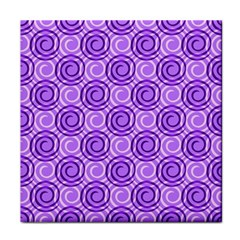 Purple And White Swirls Background Ceramic Tile by Colorfulart23